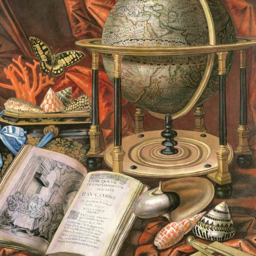 Still Life with a Globe, Books, Shells and Corals (oil on canvas)